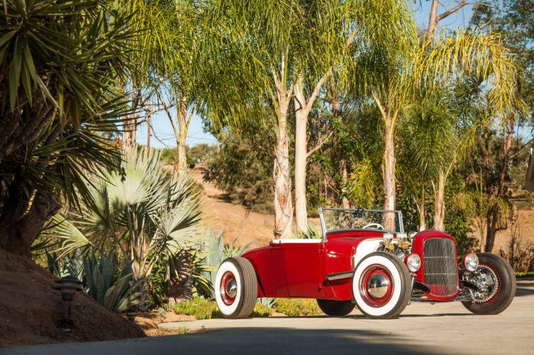1928 Ford Model-A Roadster Red Hotrod Hot Rod Custom Old School USA 5616x3730-03 wallpaper
