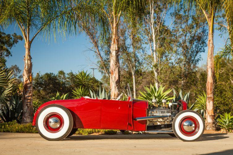 1928 Ford Model-A Roadster Red Hotrod Hot Rod Custom Old School USA 5616x3730-05 wallpaper