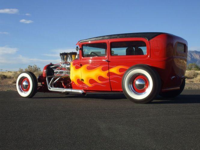 1930 Fords Tudor Sedan Hotrod Hot Rod Old School Red USA 1600x1200-01 wallpaper