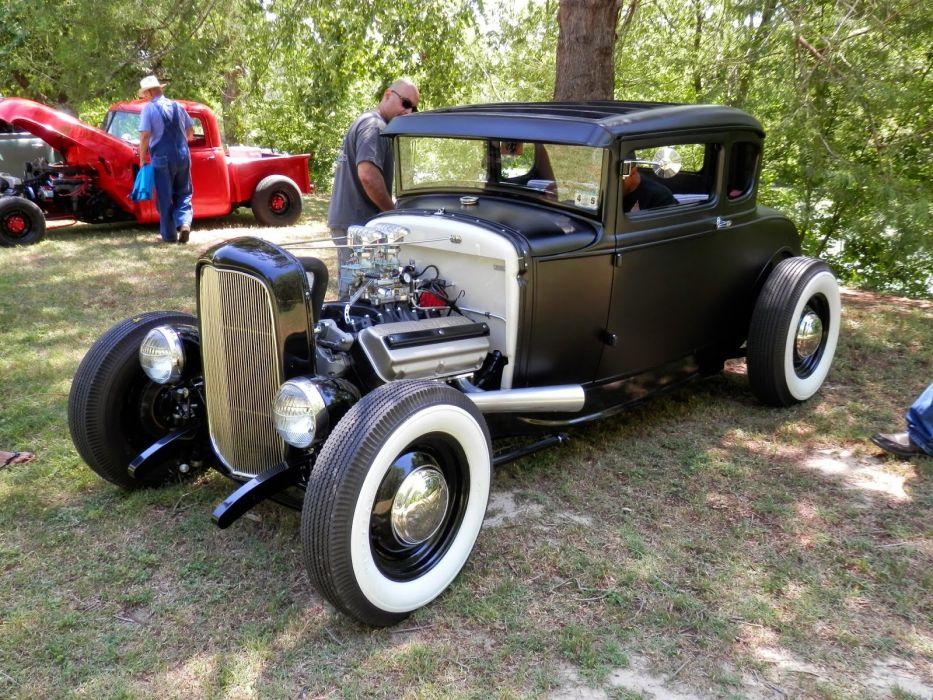 1932 Ford Coupe 5 Windos Hot Rod Hotrod Custom Old School Black USA 1600x1200-01 wallpaper