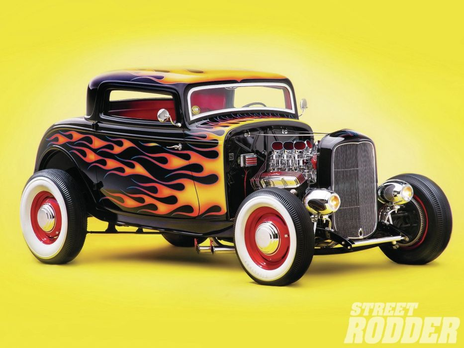 1932 Ford Coupe 3 Window Hotrod Hot Rod Old School USA 1600x1200-03 wallpaper