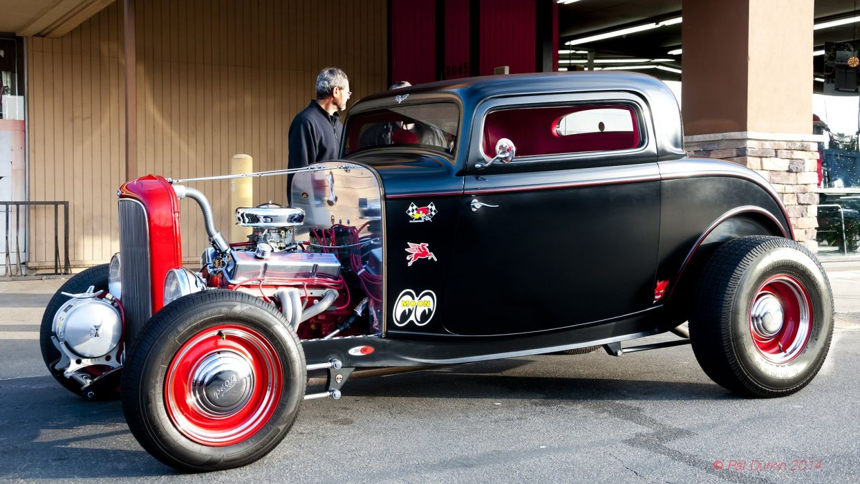 1932 Ford Coupe 3 Window Hotrod Hot Rod Old School USA 2048x1154-01 wallpaper