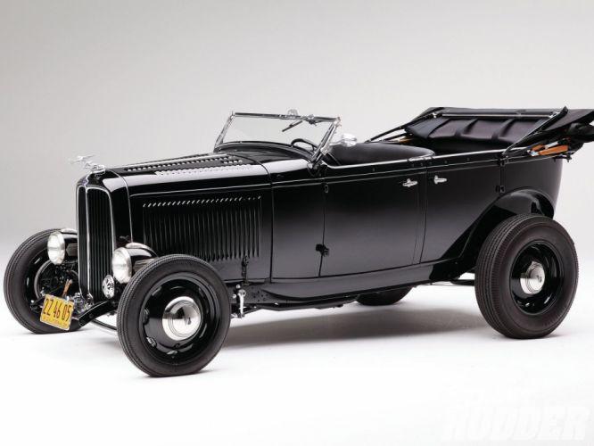 1932 Ford Deluxe V8 Phaeton Hotrod Hot Rod OLd Scholl Black USA 1600x1200-01 wallpaper