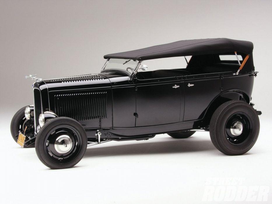 1932 Ford Deluxe V8 Phaeton Hotrod Hot Rod OLd Scholl Black USA 1600x1200-02 wallpaper