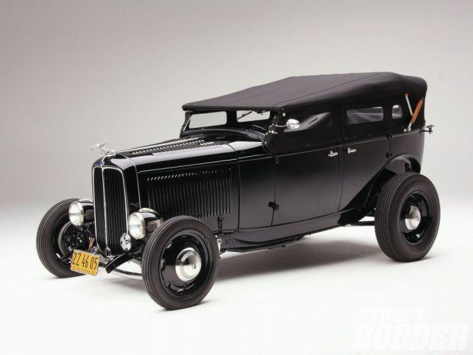 1932 Ford Deluxe V8 Phaeton Hotrod Hot Rod OLd Scholl Black USA 1600x1200-04 wallpaper