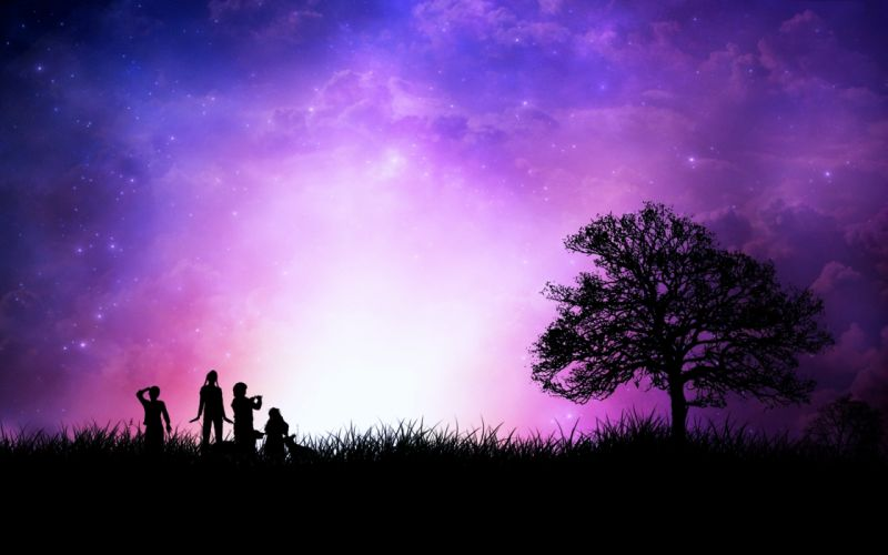 space stars sky tree people family drawing imaginations fantasy dreams wallpaper