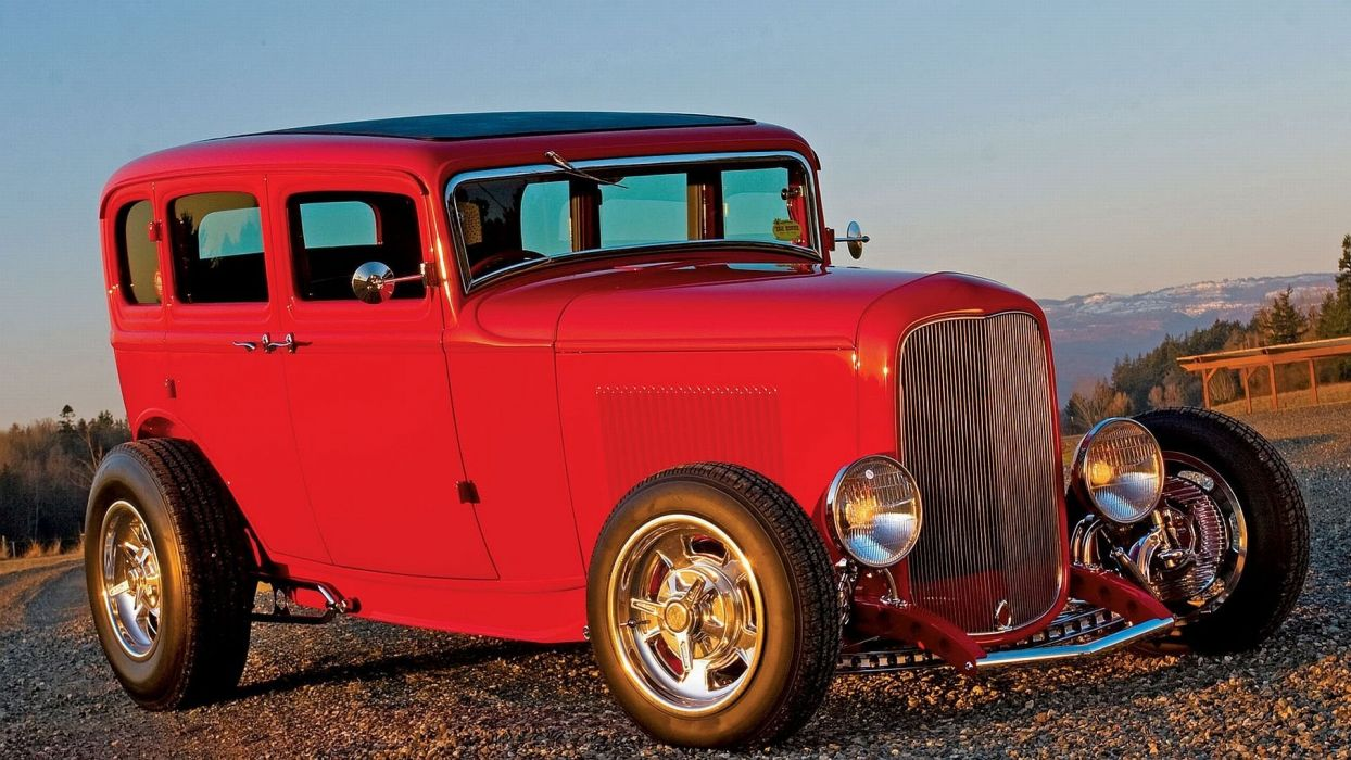 1932 Ford Sedan Tudor 4 Door Hotrod Streetrod Hot Rod Street Red UDA 1920x1080-01 wallpaper