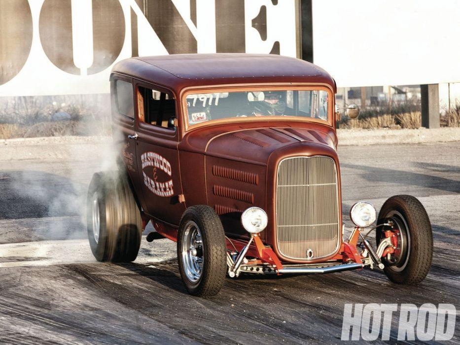 1932 Ford Tudor Sedan 2 Door Hotrod Hot Rod Old School USA 1600x1200-07 wallpaper