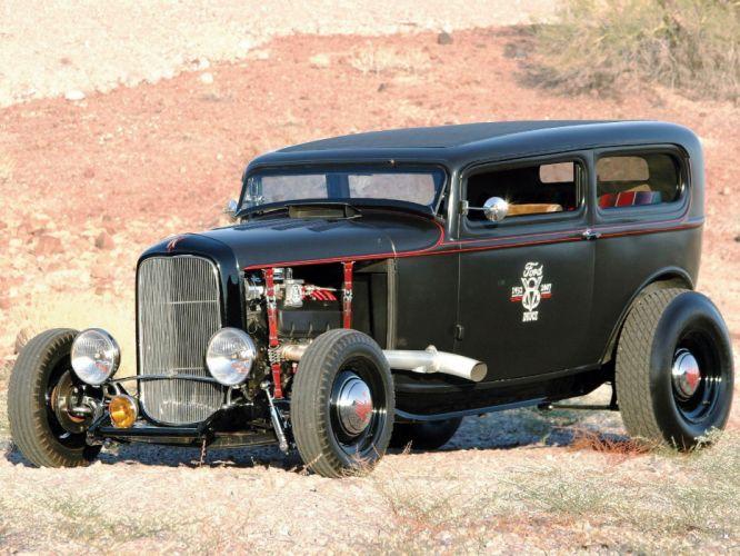 1932 Ford Tudor Sedan 2 Door Hotrod Hot Rod Old School USA 1600x1200-10 wallpaper