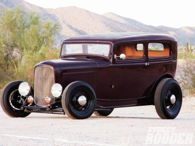 1932 Ford Tudor Sedan 2 Door Hotrod Hot Rod Old School USA 1600x1200-17 wallpaper