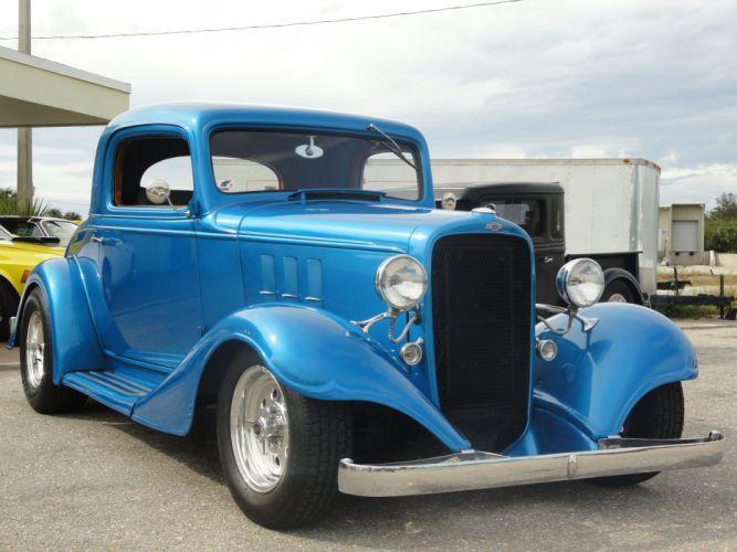 1933 Chevrolet Chevy Coupe Hotrod Streetrod Hot Rod Street Blue USA 2592x1944-02 wallpaper
