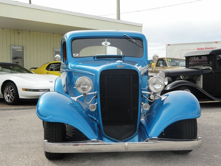 1933 Chevrolet Chevy Coupe Hotrod Streetrod Hot Rod Street Blue USA 2592x1944-01 wallpaper