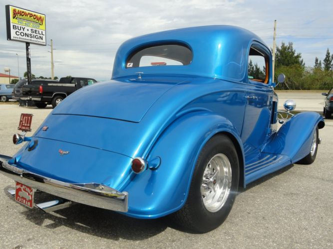 1933 Chevrolet Chevy Coupe Hotrod Streetrod Hot Rod Street Blue USA 2592x1944-08 wallpaper