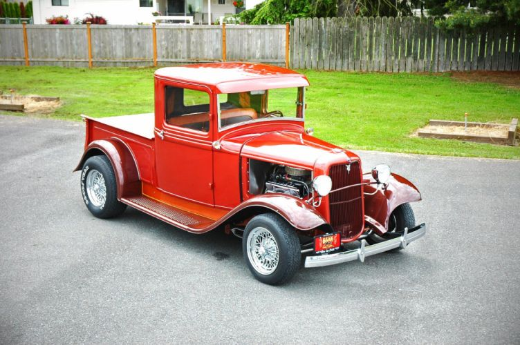 1933 Ford Pickup Hotrod Hot Rod Old School Red USA 1500x1000-01 wallpaper