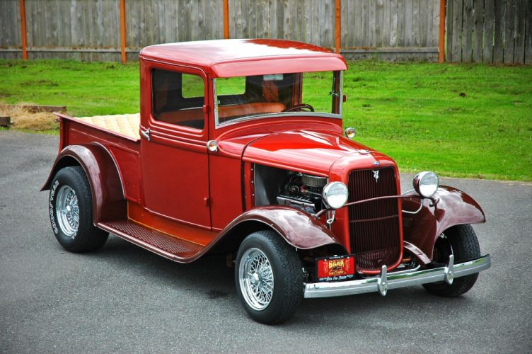 1933 Ford Pickup Hotrod Hot Rod Old School Red USA 1500x1000-03 wallpaper