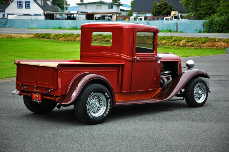 1933 Ford Pickup Hotrod Hot Rod Old School Red USA 1500x1000-06 wallpaper