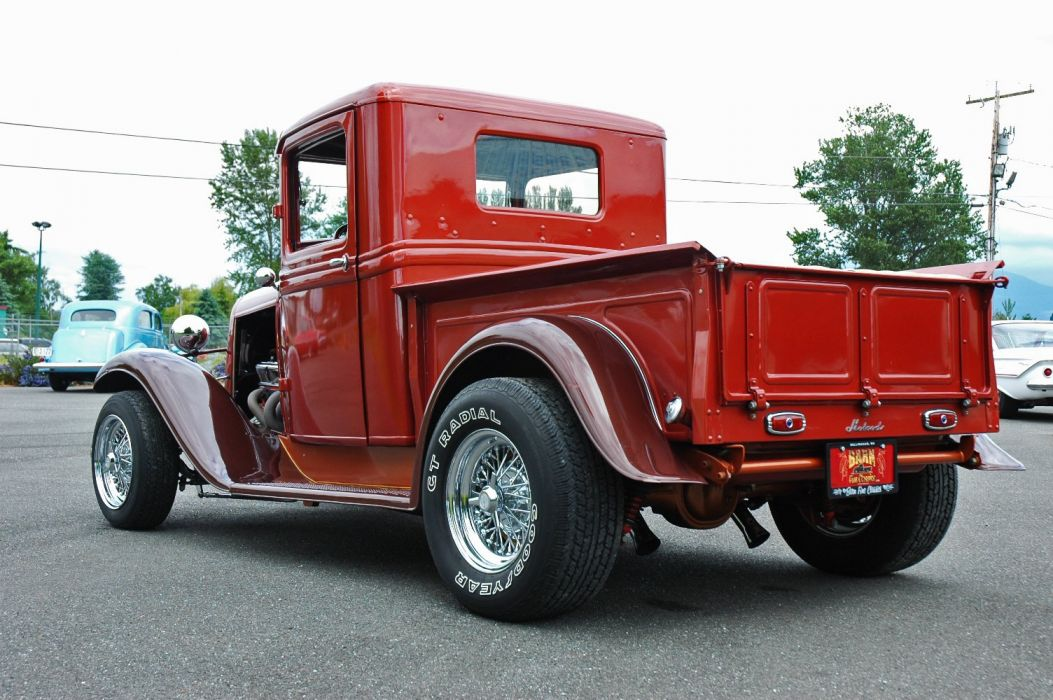 1933 Ford Pickup Hotrod Hot Rod Old School Red USA 1500x1000-10 wallpaper