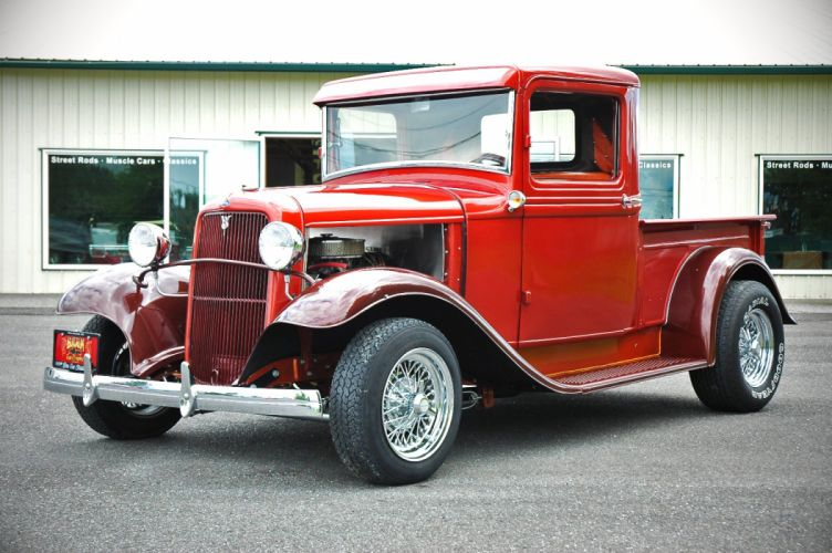 1933 Ford Pickup Hotrod Hot Rod Old School Red USA 1500x1000-12 wallpaper