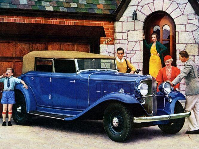 1933 Nash Ambassador Eight Convertible Classic Old Retro Vintage Blue USA 1440x1080-01 wallpaper