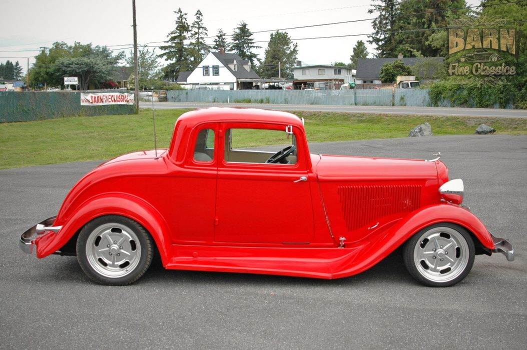 1933 Plymouth Coupe 5 Window Hotrod Streetrod Hot Rod Street Red USA 1500x1000-06 wallpaper