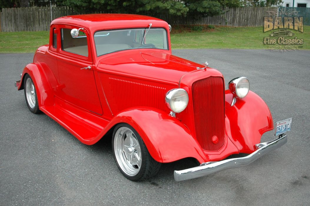 1933 Plymouth Coupe 5 Window Hotrod Streetrod Hot Rod Street Red USA 1500x1000-11 wallpaper