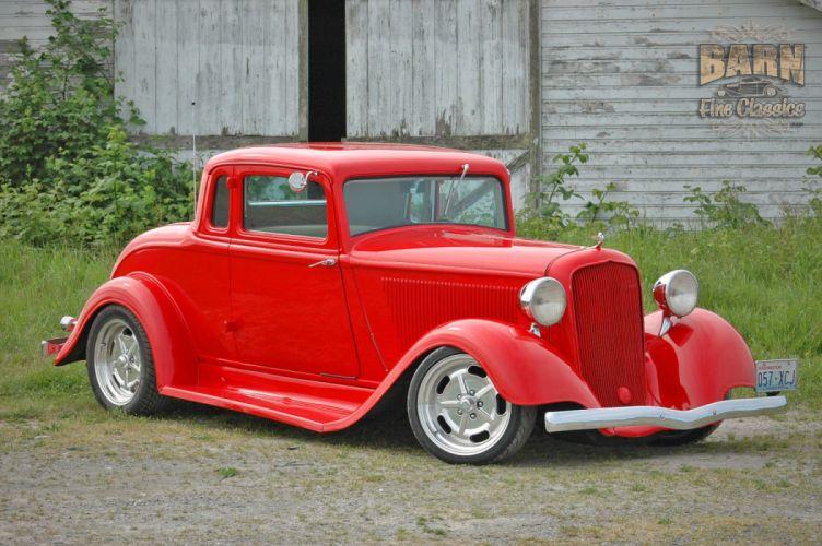 1933 Plymouth Coupe 5 Window Hotrod Streetrod Hot Rod Street Red USA 1500x1000-14 wallpaper