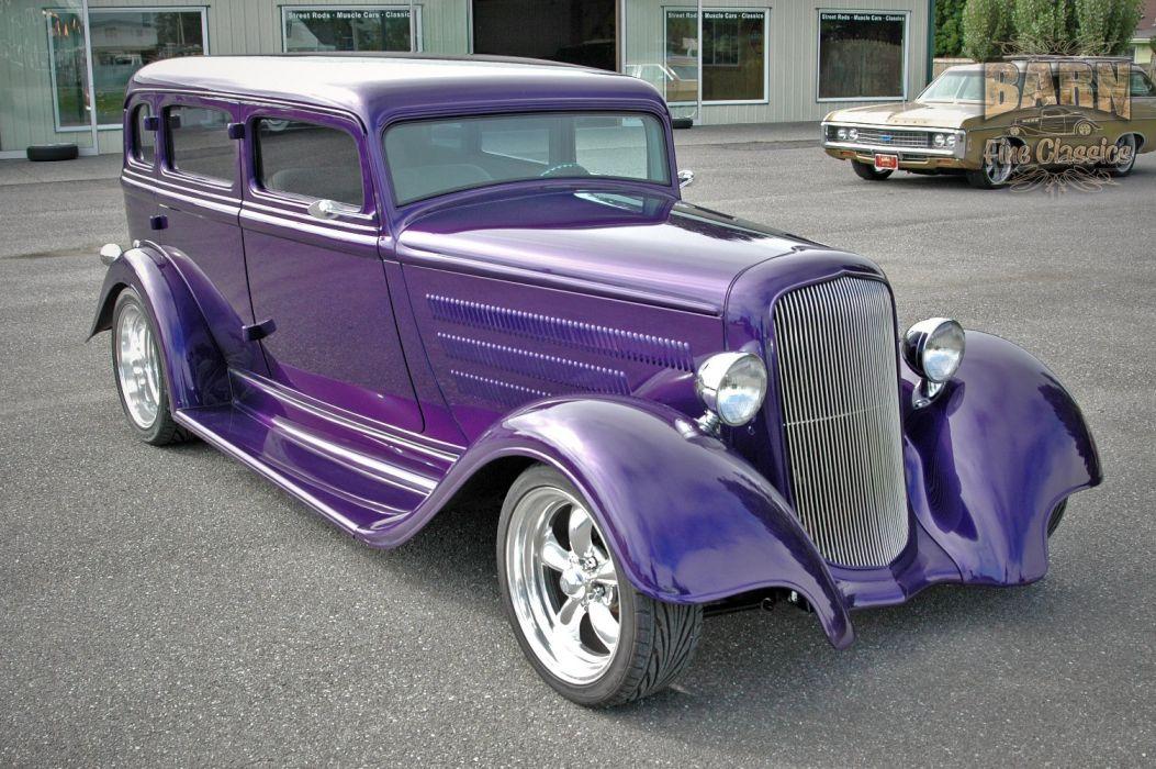 1933 Plymouth Sedan 4 Door Hotrod Streetrod Hot Rod Street Red USA 1500x1000-13 wallpaper