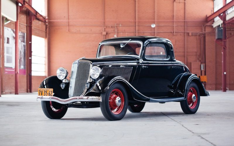 1934 Ford Coupe 3 Window Classic Old Retro Vintage Black USA 1600x1000-02 wallpaper