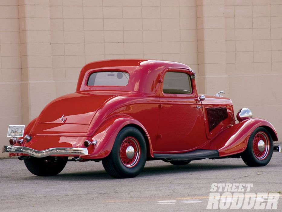 1934 Ford Coupe 3 Window Hotrod Street Rod Hot Rod Old School Red USA 1600x1200-02 wallpaper
