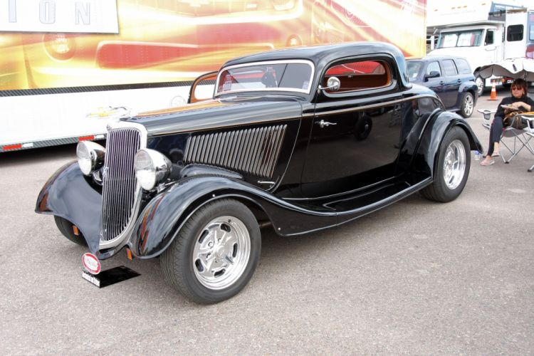 1934 Ford Coupe 3 Window Hotrod Streetrod Hot Rod Street Black USA 3888x2592-01 wallpaper