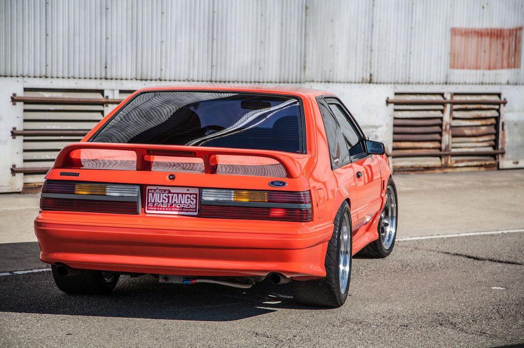 Terminator Swapped 1993 Fox Cobra Ford Mustang cars modified orange wallpaper