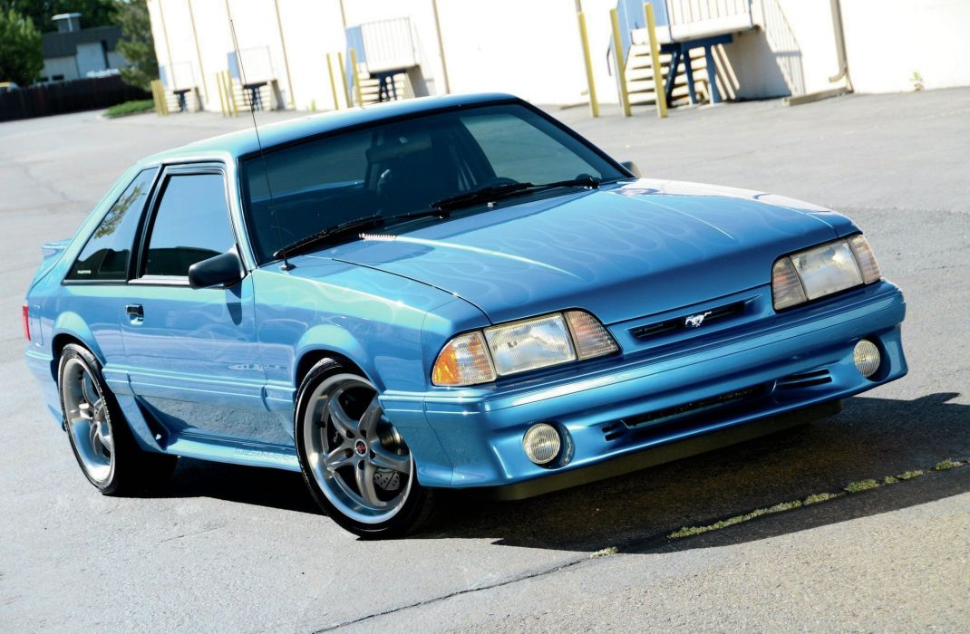 1992 Ford Mustang GT cars modified blue wallpaper