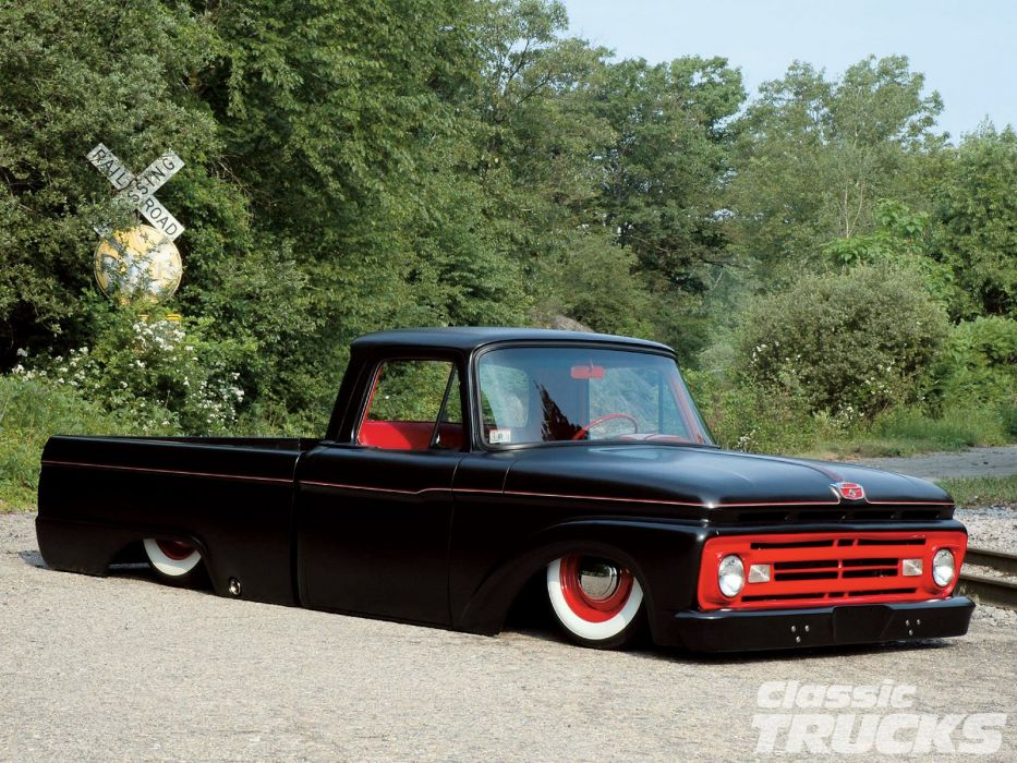1963 Ford F-100 Pickup Hotrod Hot Rod Custom Lowered Suspension Low Black USA 1600x1200-01 wallpaper