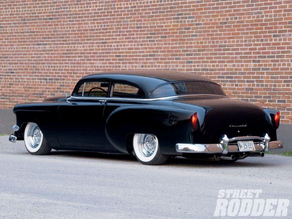 1954 Chevrolet BelAir Hotrod Hot Rod Custom Kustom Chopped Low Black USA 1600x1200-02 wallpaper