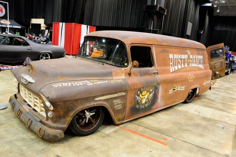 1956 Chevrolet Chevy Delivery Rust Ratrod Rat Rod Low Lowered USA 2048x1360-01 wallpaper