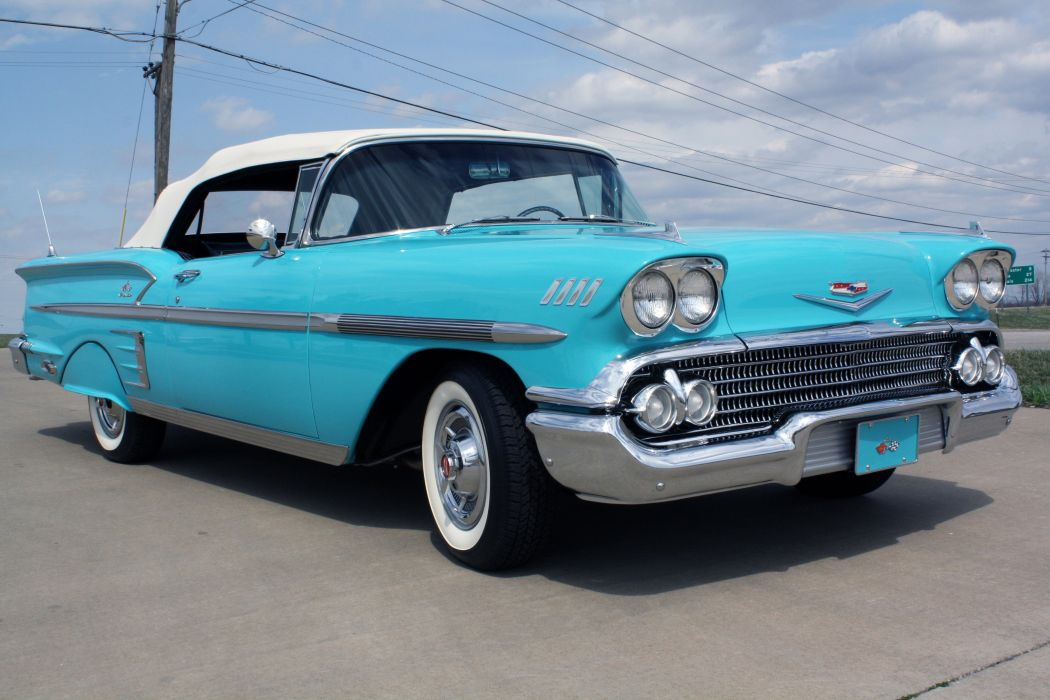 1958 Chevrolet Impala Convertible Classic Old Blue USA 3888x2592-01 ...