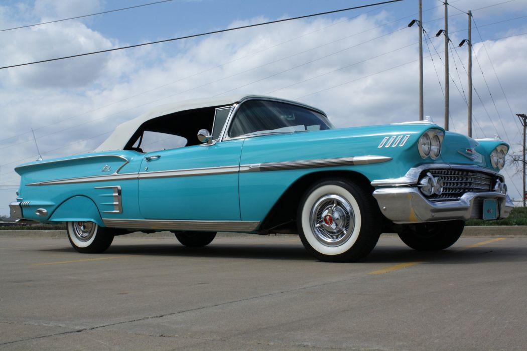 1958 Chevrolet Impala Convertible Classic Old Blue USA 3888x2592-03 wallpaper
