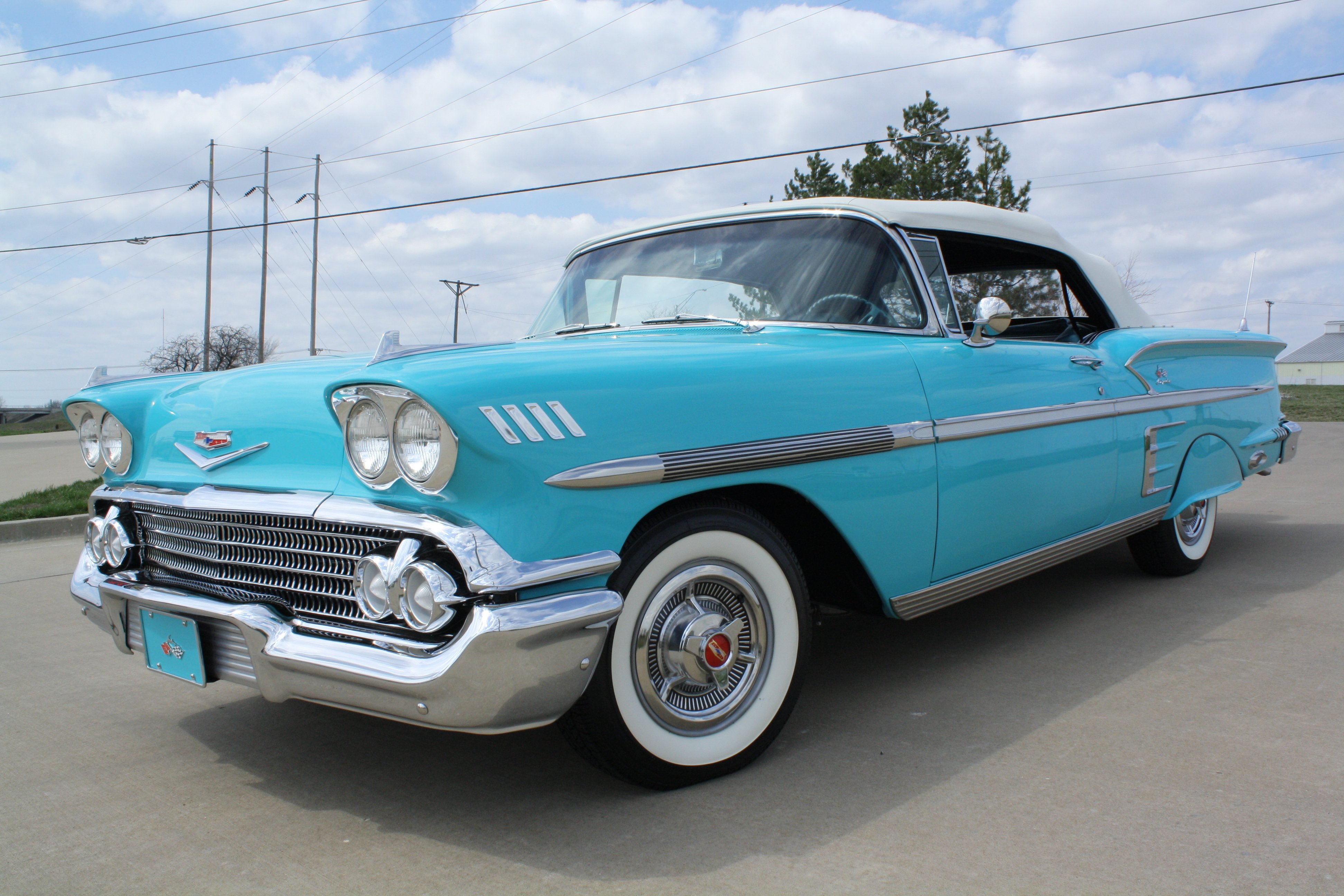 1958 Chevrolet Impala Convertible Classic Old Blue USA 3888x2592-05 ...
