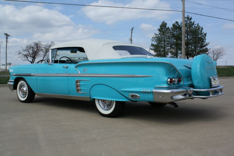 1958 Chevrolet Impala Convertible Classic Old Blue USA 3888x2592-04 wallpaper