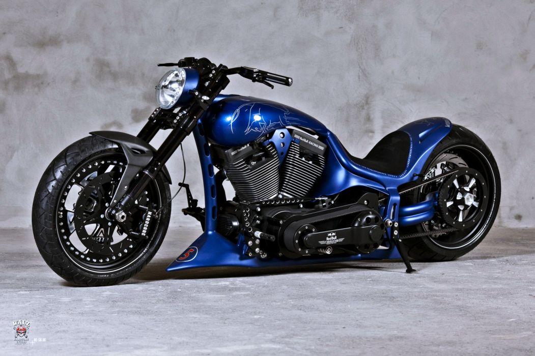 Blue Heavy Bike Hd Wallpaper: Blue Chopper Force Harley-Davidson Motocycle Motors Noise