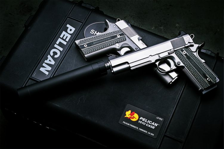 pistols weapon Silencer police box army military wallpaper