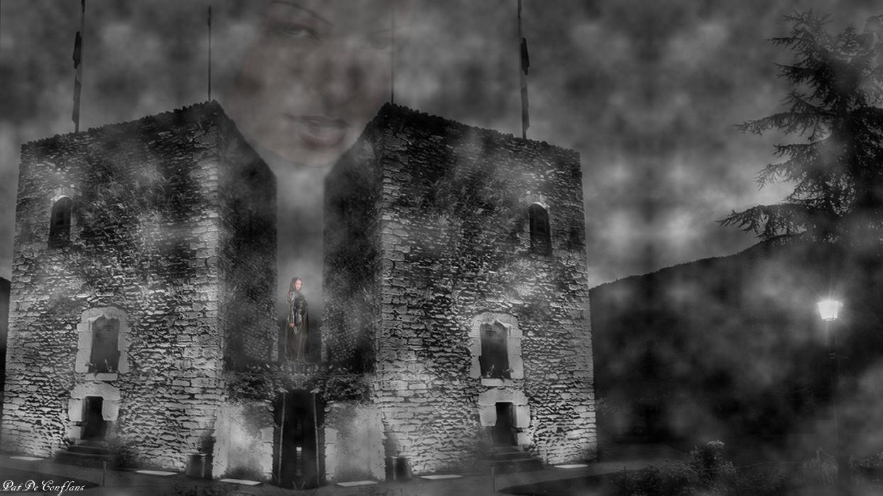 Apparition Fantastic Sarrazine Towers Medieval Conflans wallpaper