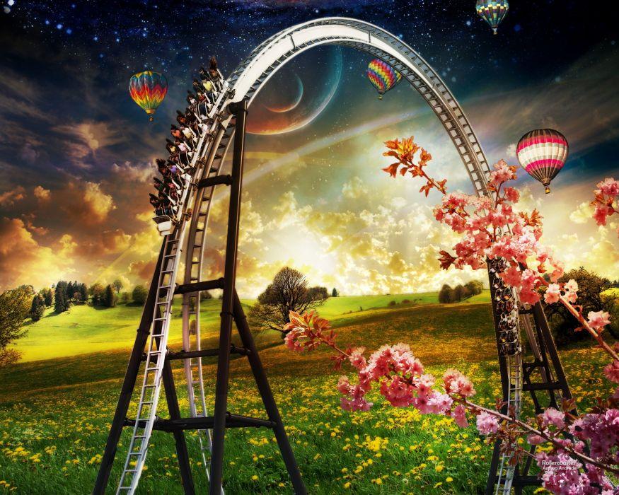 roller coaster amusement park fun rides 1roll adventure summer people artwork wallpaper