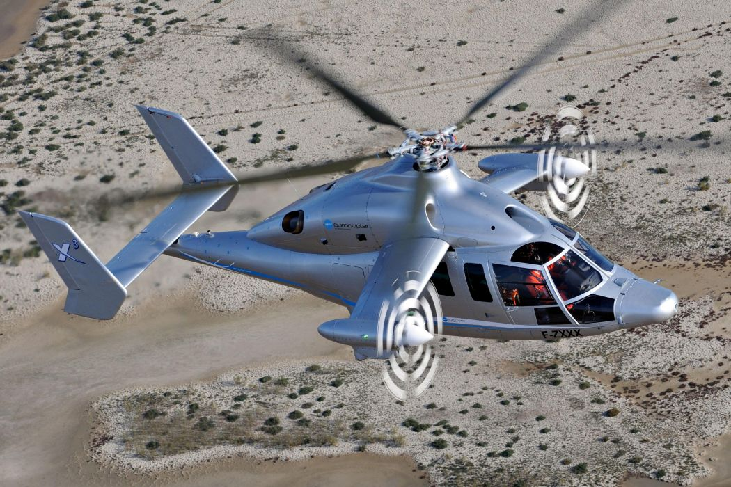 Eurocopter X3 experimental hybrid helicopter flight aircrafts gray desert earth landscapes nature wallpaper