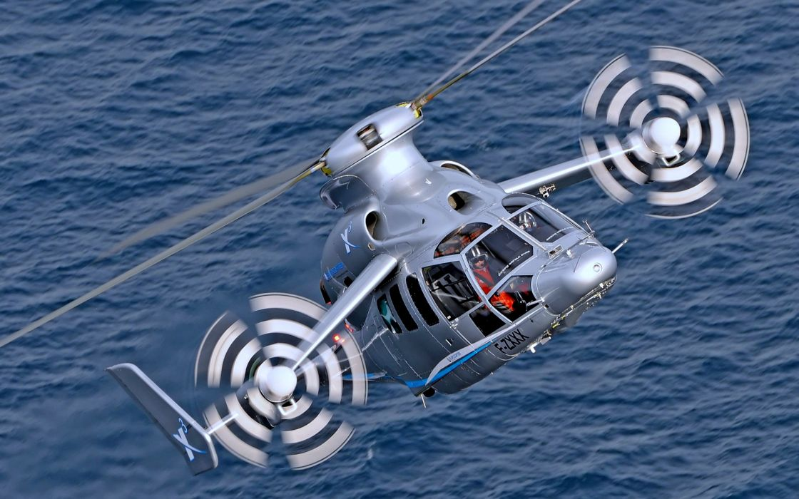 aircrafts Earth eurocopter experimental Flight gray Helicopter hybrid landscapes nature sea ocean wallpaper