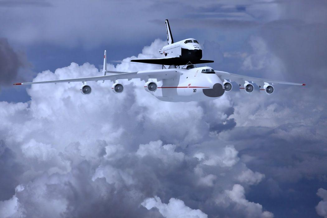 an-225 mriya buran sky clouds earth shuttle planes aircrafts wallpaper