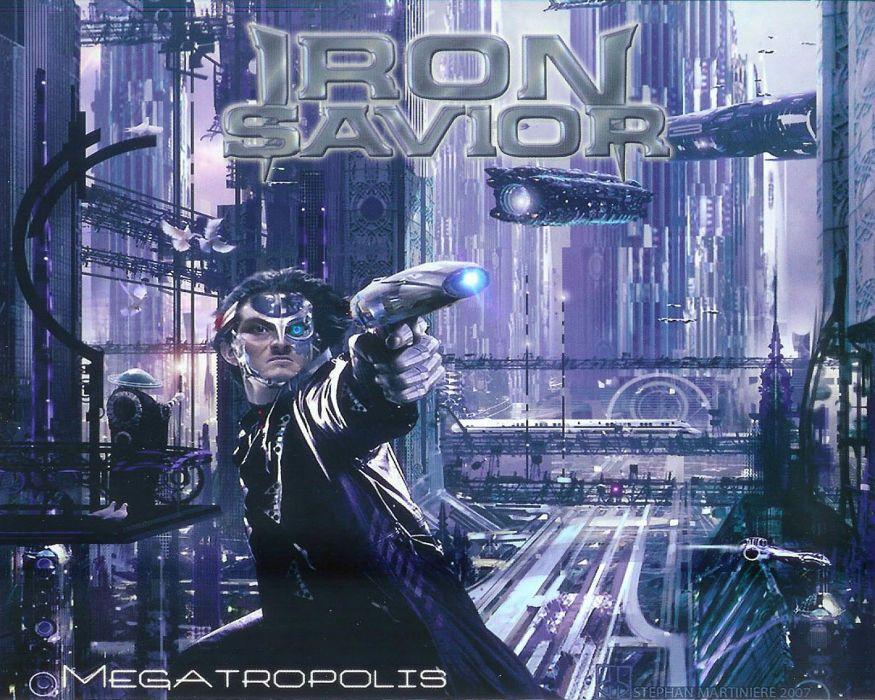 IRON SAVIOR power metal heavy 1irons poster warrior sci-fi wallpaper