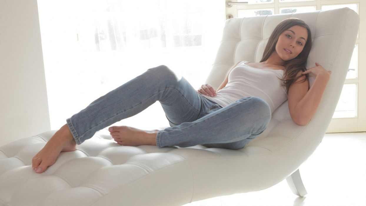 SENSUALITY - girl brunette feet jeans legs couch window panes wallpaper