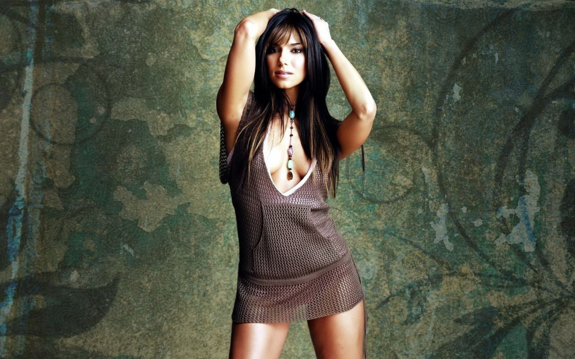 SENSUALITY - girl brunette pose short dress neckline wallpaper