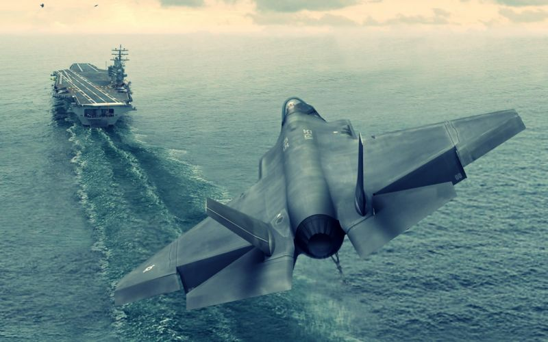 f-35a aircrafts Earth fighters Carrier nature planes sea Wars Review wallpaper